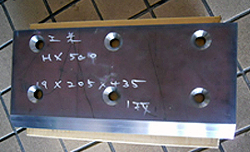 HARDOX500 開先と皿穴加工